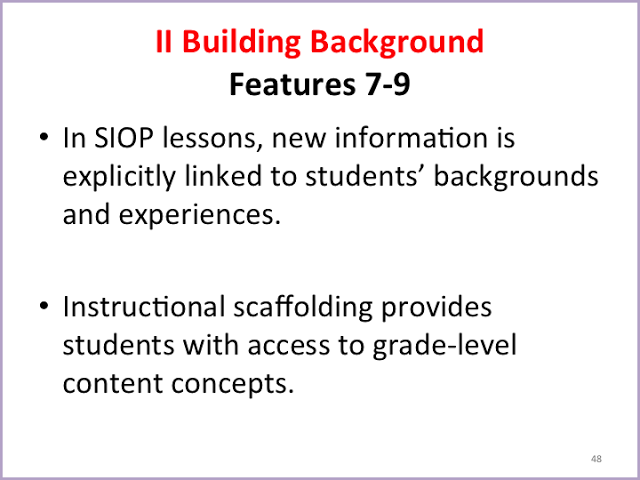Sheltered Instruction Siop Model Features One To Thirty Teaching