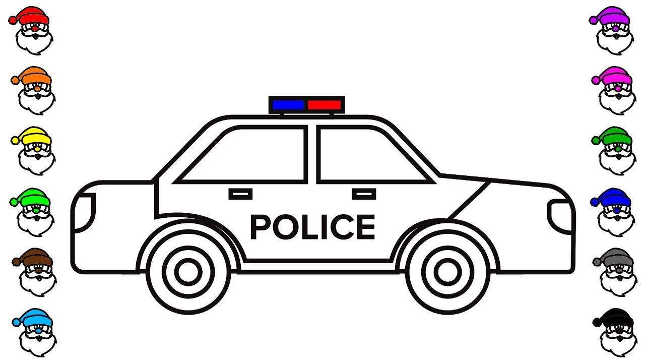 How to draw police car coloring pages, Truck coloring video, KidsTV ...