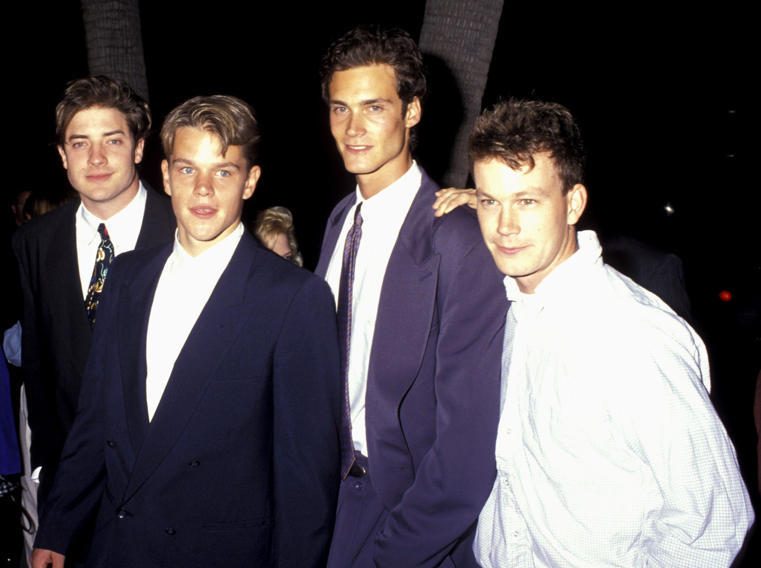 """At the movie premiere of """"School Ties"""", 1992. L to R ..."""
