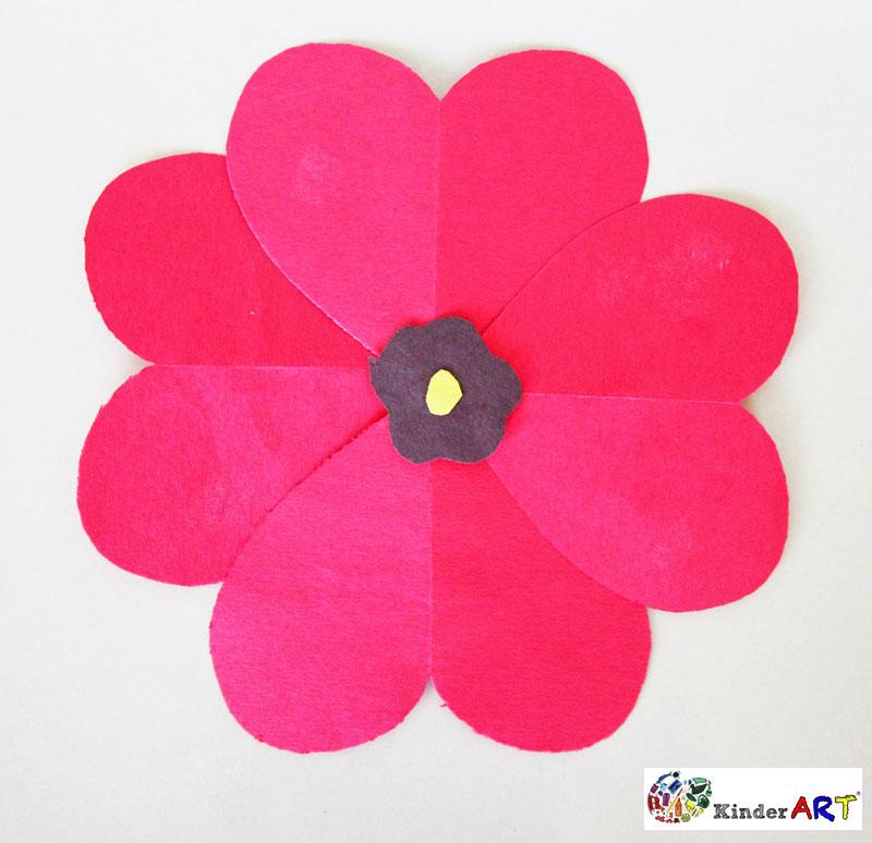 Heart Poppies - Veterans/Remembrance Day - November - KinderArt #remembrancedaycraftsforkids