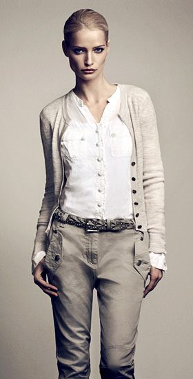 Shop my closet - cargo pants, white blouse and cardigan or net vest.