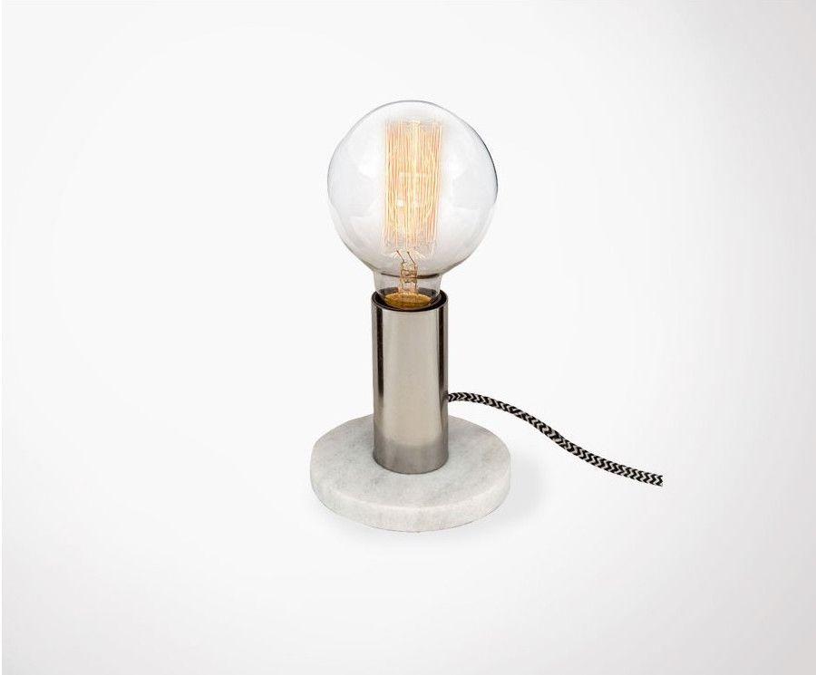 Petite lampe de bureau en marbre blanc style rétro retro style