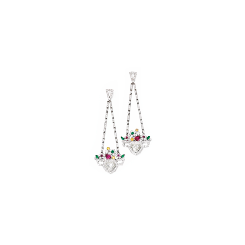 Pair of White Gold, Diamond, Ruby, Emerald and Colored Diamond Earrings   Lot   Sotheby's