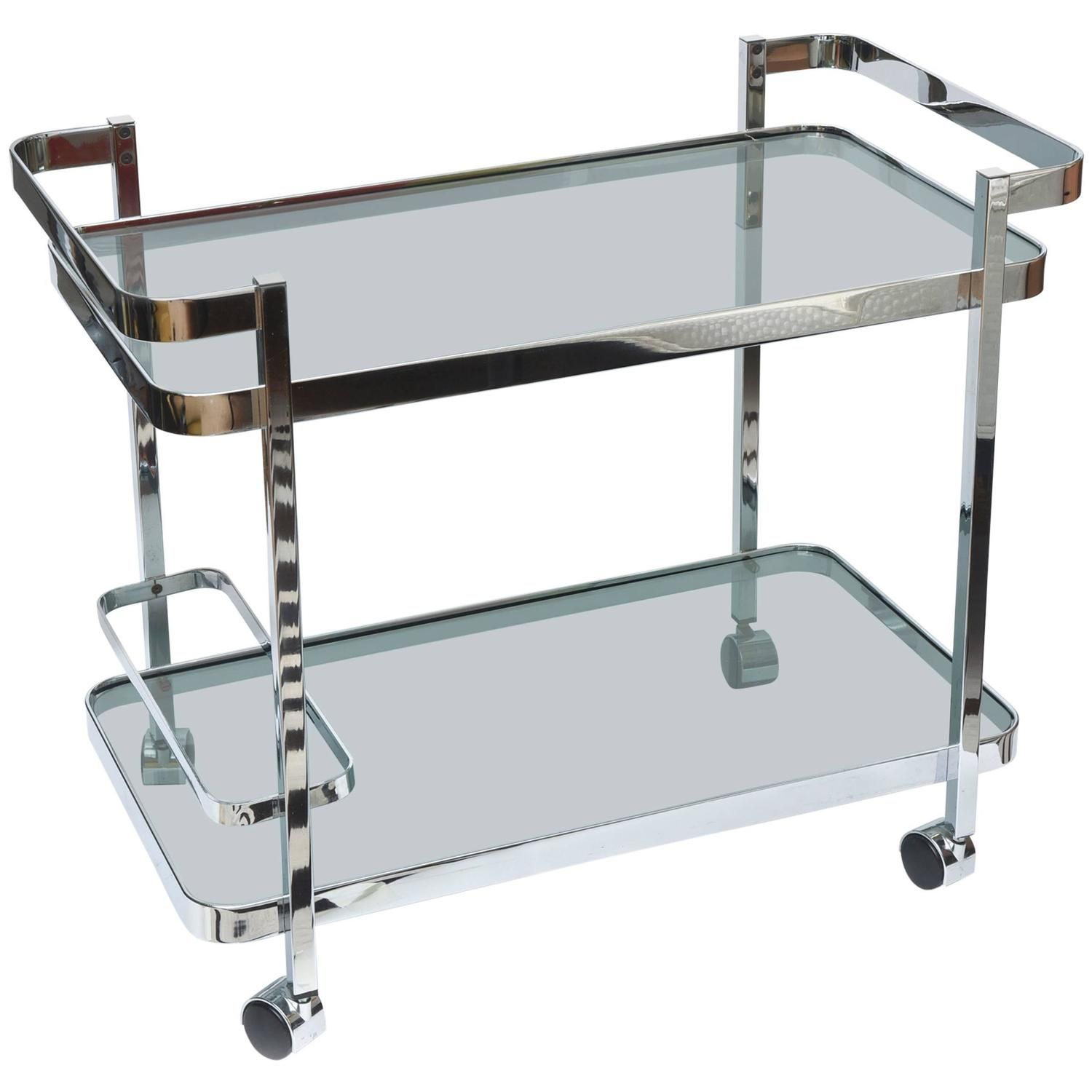 Polished Chrome And Smoky Black Glass Two Tiered Bar/ Serving Cart | From A