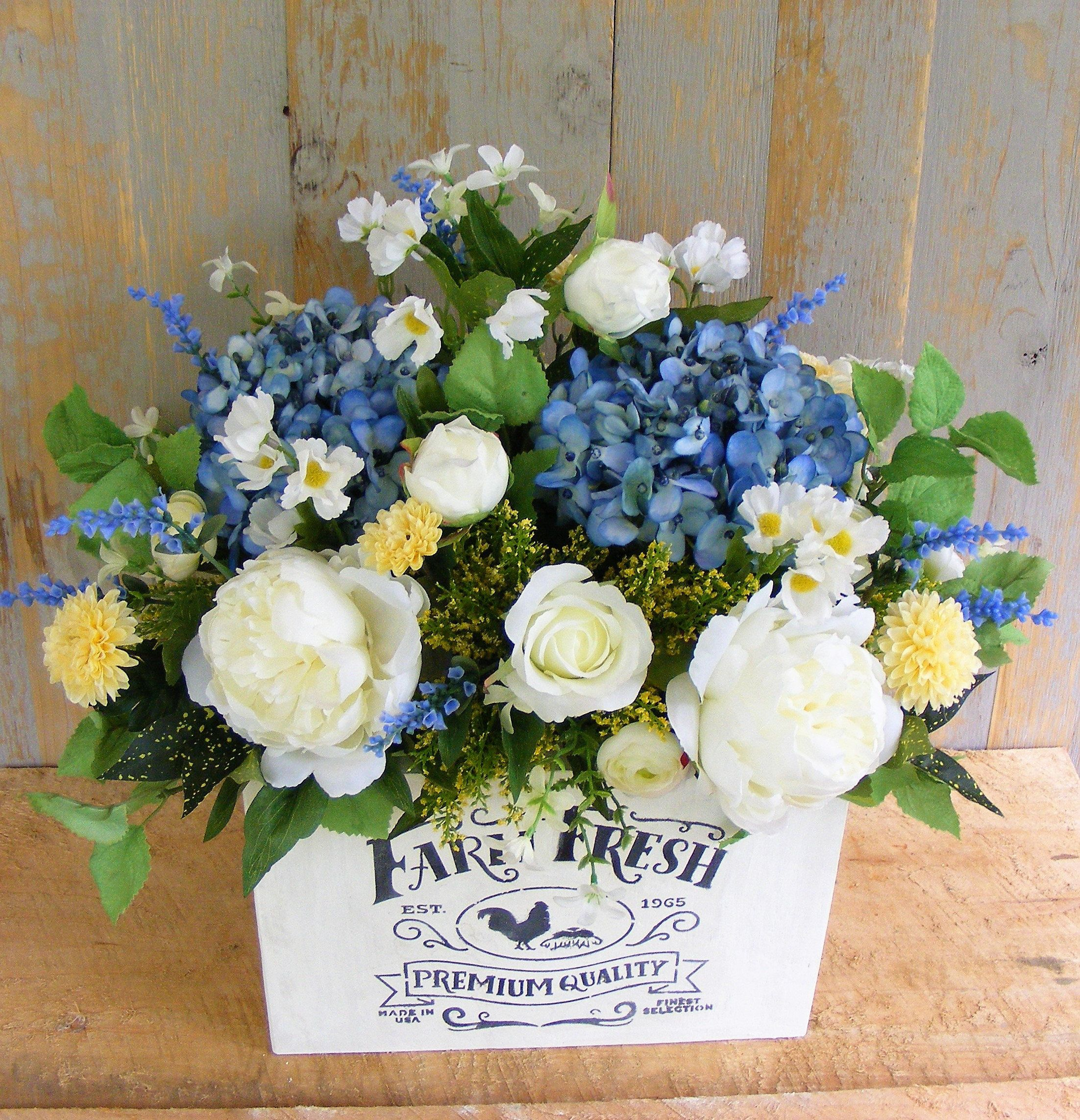 Farmhouse silk flower arrangement large white planter box