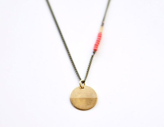 Compass  long brass coin antique necklace  modern boho by edor