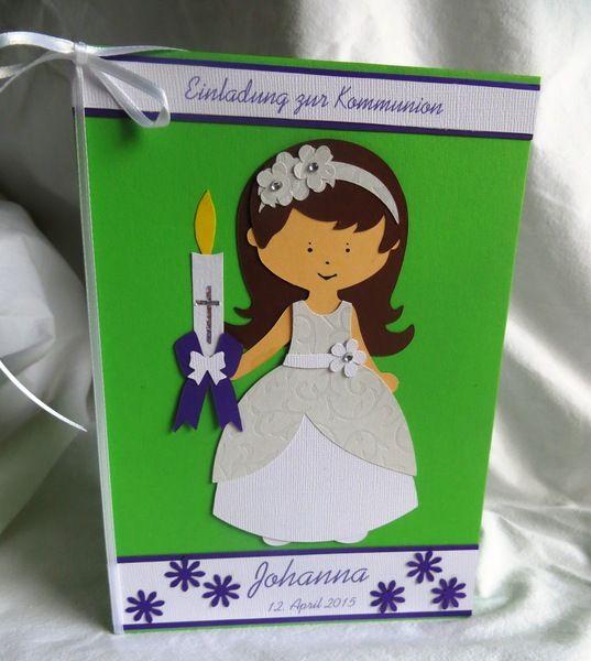 Einladung zur Kommunion (Kommunionmädchen) Nr. 79 von Christax auf DaWanda.com