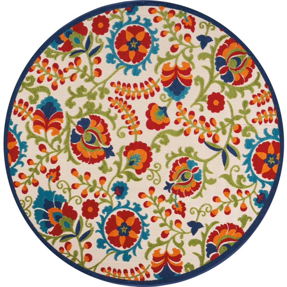 Nourison Aloha Multi 8 Ft X 8 Ft Indoor Outdoor Round Area Rug 215888 The Home Depot Round Outdoor Rug Coastal Area Rugs Area Rugs