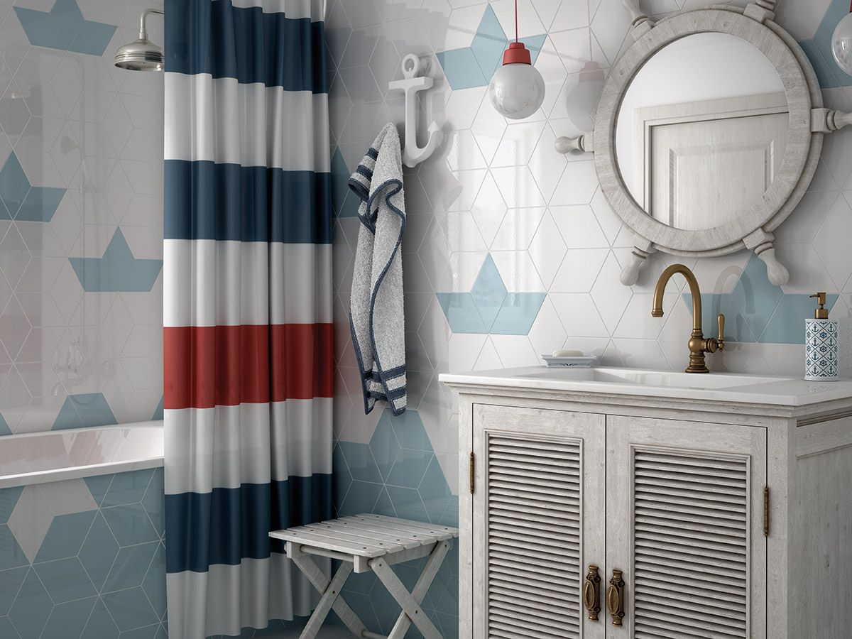 Nautical bathroom featuring white and blue diamond tiles and bold
