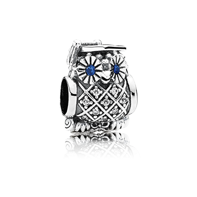 PANDORA   Hibou de cérémonie, cristal bleu roi et cz incolore