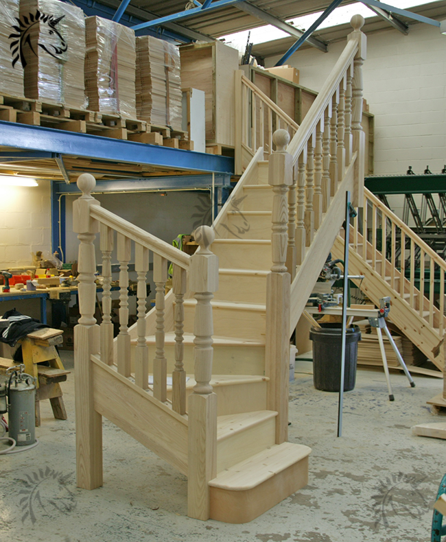 Beautiful Interior Staircase Ideas And Newel Post Designs: Ash Winder Staircase With Designer Collection Turned