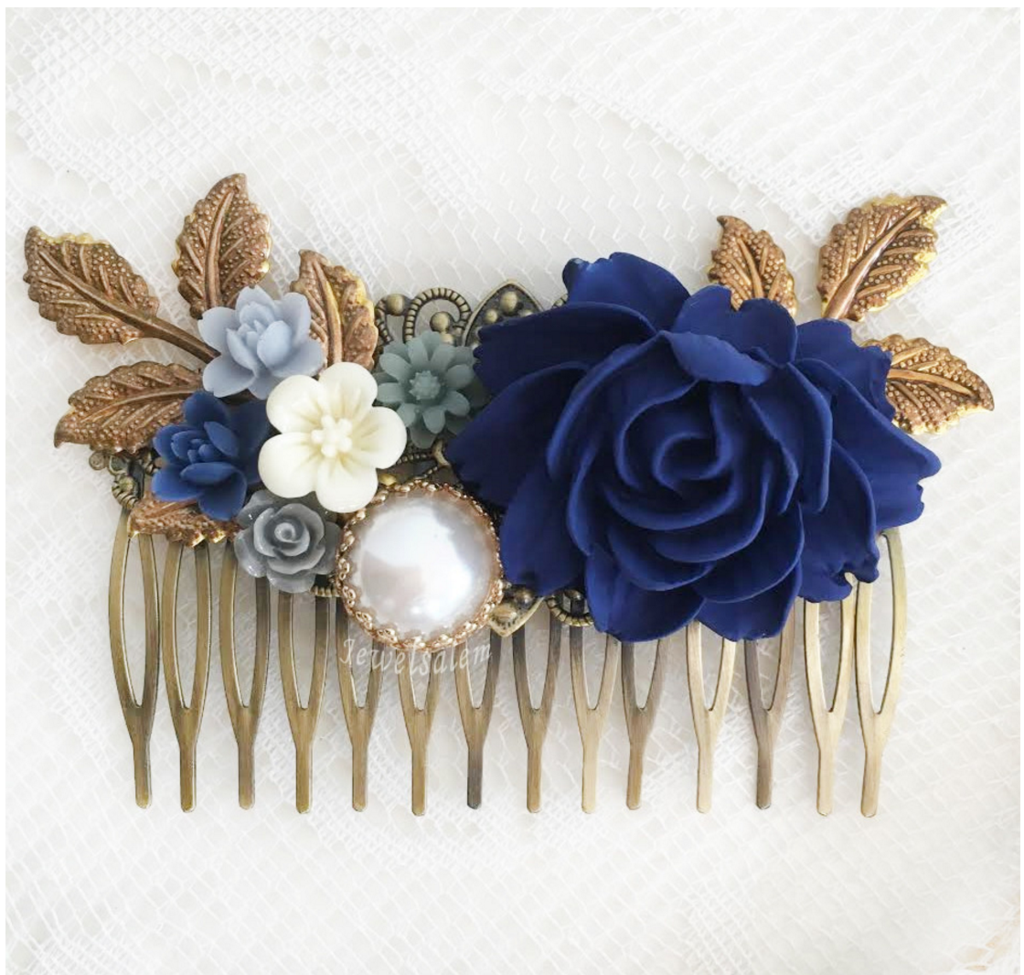 Floria sapphire blue wedding hair comb elegant wedding hair dark blue flower navy blue wedding comb gray romantic bridal hair slide elegant wedding hair adornment izmirmasajfo