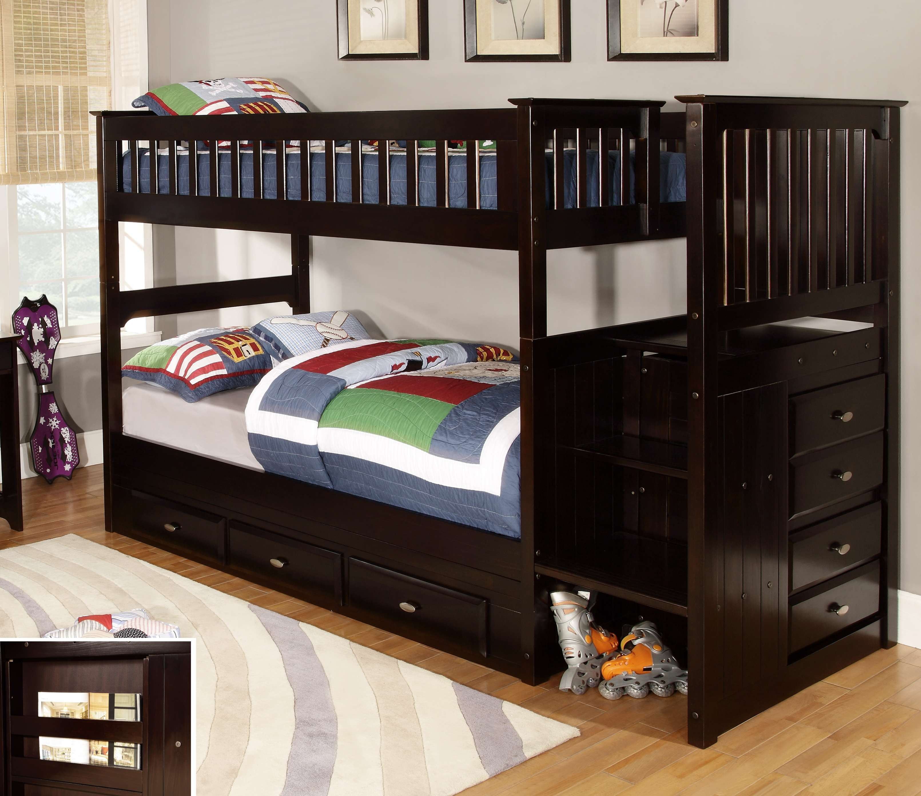 loft drawers bed storage with twin canwood built stairs espresso tower pin in and beds mountaineer bunk