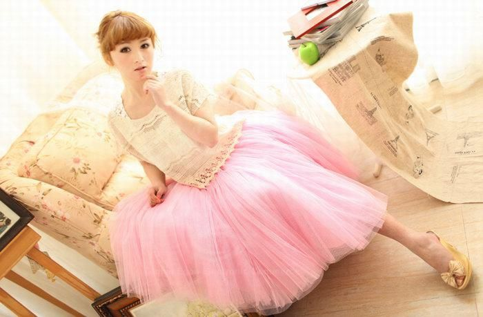 Refreshing Elastic Waist Puff Five layers Voile Multicolor Skirts For Women, BLACK, FREE SIZE in Skirts | DressLily.com