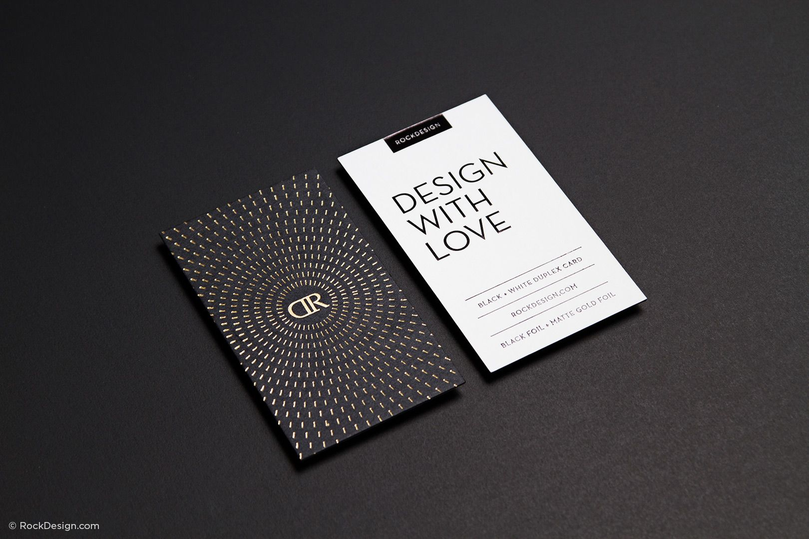 Modern monogram black and white card with foil stamping - RD ...