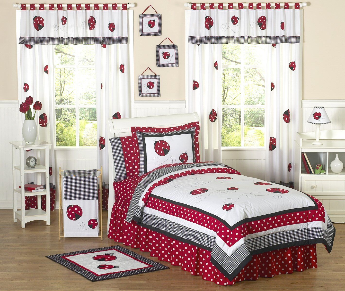Little Red Ladybug Girls Bedding Twin or Full/Queen Kids Comforter ...