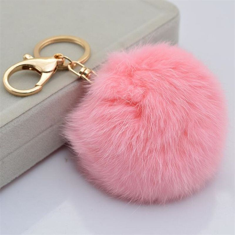 Multicolors Pink Rabbit Fur Ball Keychain Bag Plush Car Key Holder Pendant Key  Chain Rings For Women 2016 New Fashion Jewelry 91af3c868a
