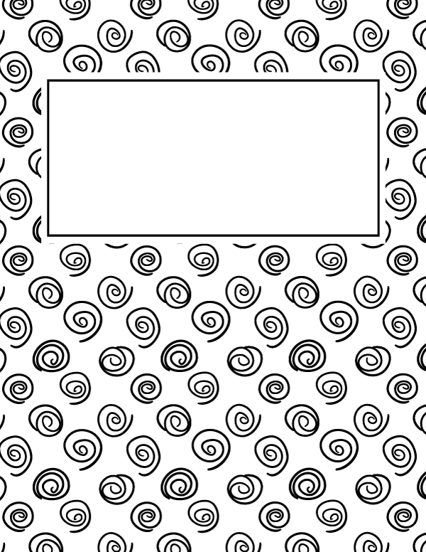 Notebook Cover Template : Free printable black and white spiral binder cover