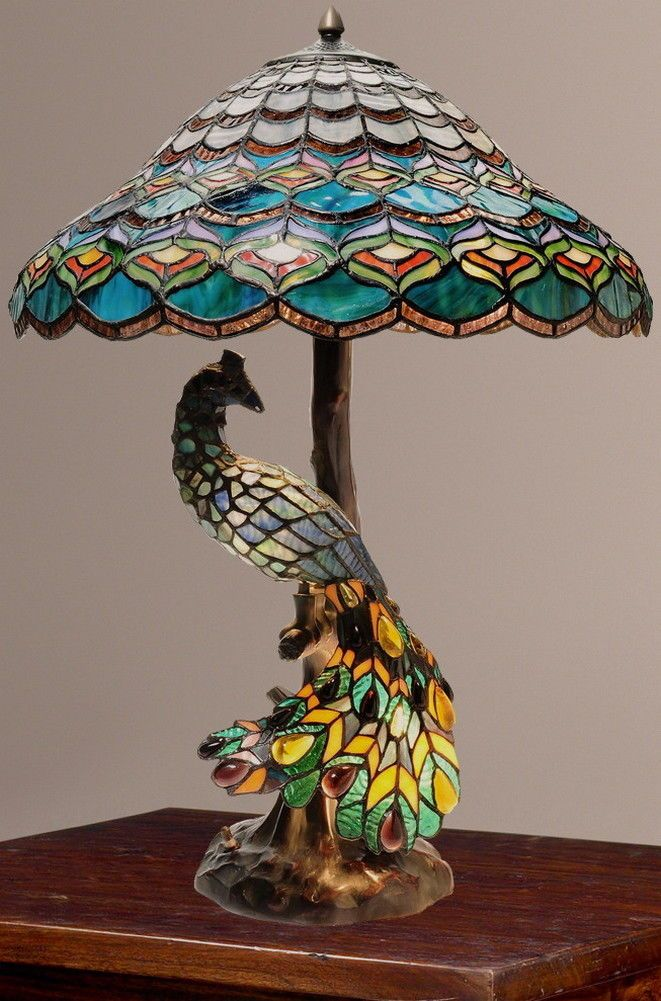 f66929a54d29 Tiffany Style Peacock s Hallow Double Lit Stained Glass Table Lamp New