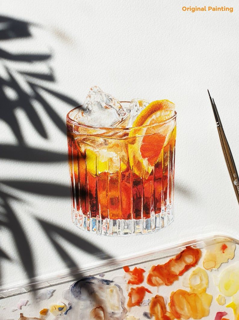 Negroni Cocktail Print Watercolor Drink Painting Mad Men Kitchen Bar Art Alcohol Gift For Him In 2020 Bar Art Alcohol Gifts Negroni