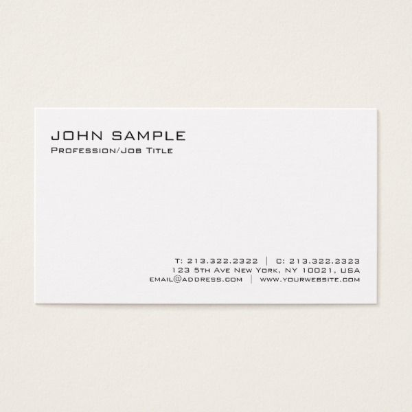 Modern elegant professional white minimalist plain business card modern elegant professional white minimalist plain business card custom professional business cards for teachers and tutors teacher tutor businesscards reheart Gallery