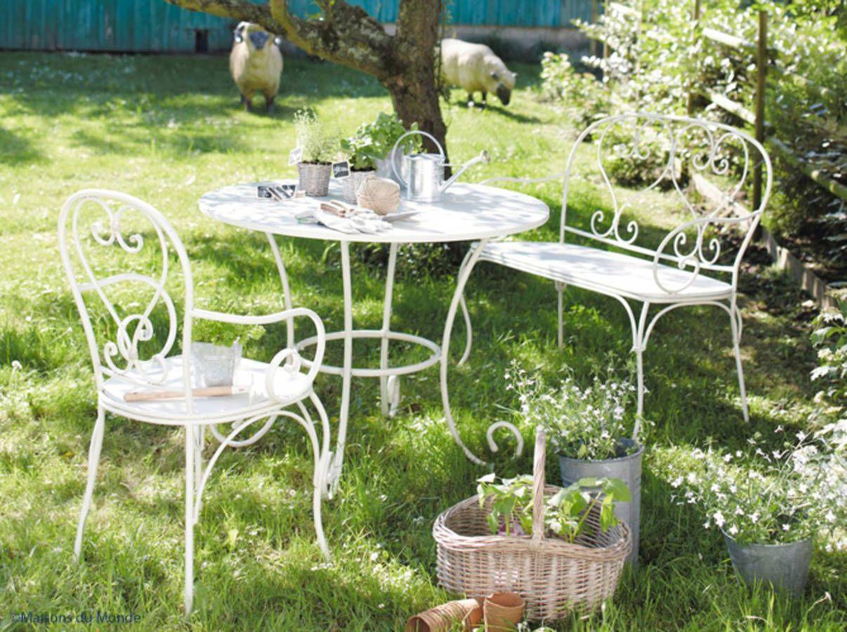 Fer Forge La Touche Retro De Votre Mobilier De Jardin Banquette Jardin Mobilier Jardin Table De Jardin Ronde