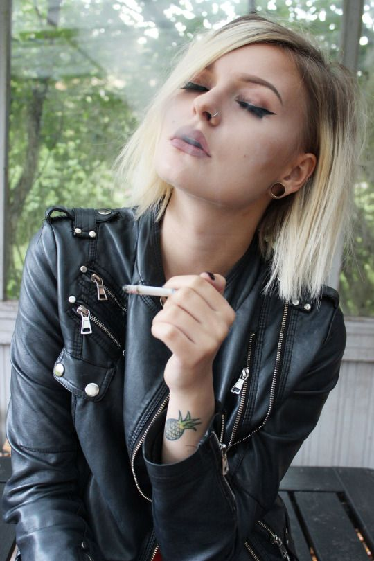 Lady With Nose Ring Smoking