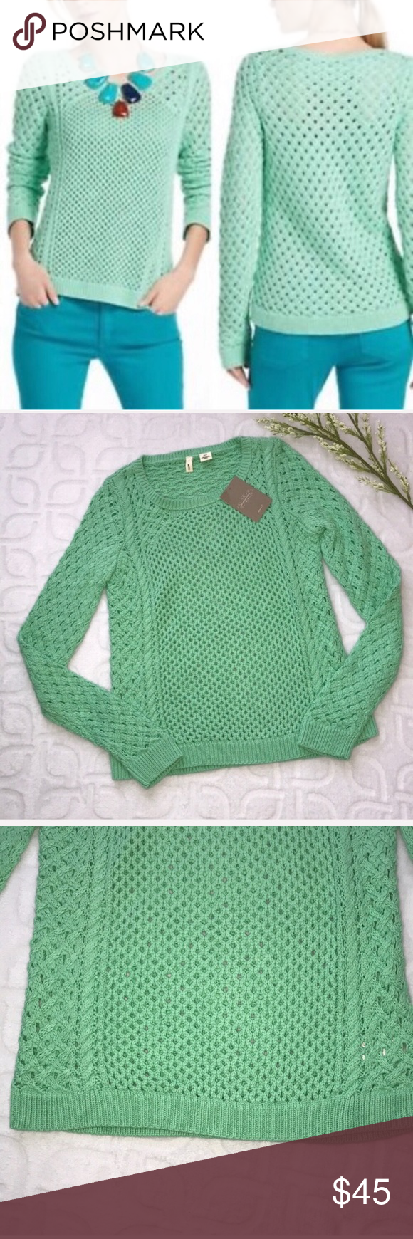 NWT ANTHROPOLOGIE MOTH Chunky Open Knit Sweater XS NWT