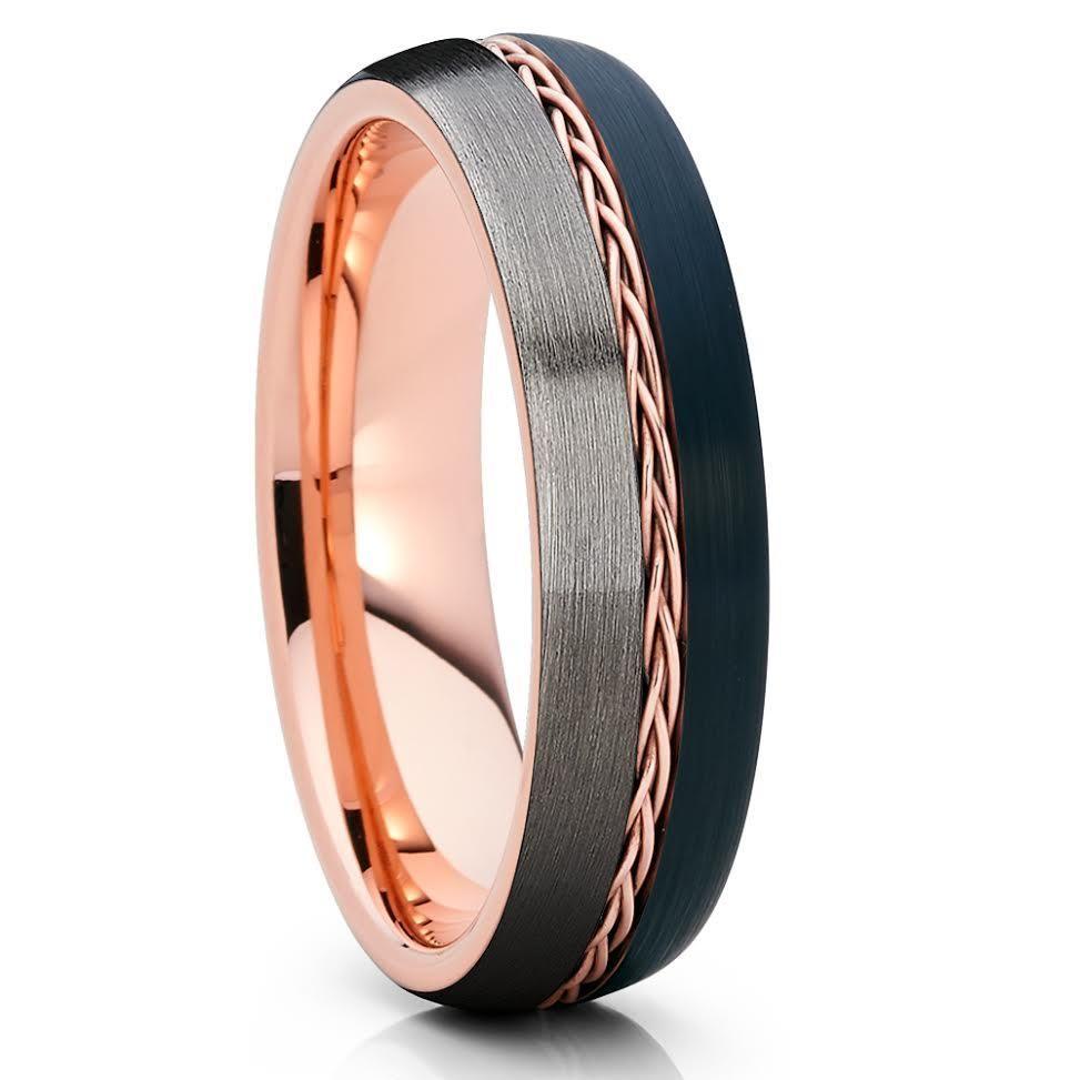 6mm Rose Gold Tungsten Braid Ring Gunmetal