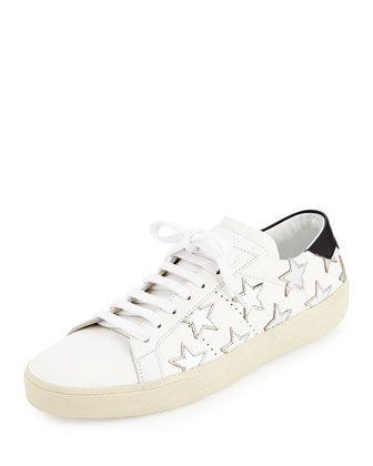 Glitter Stars Leather Sneaker, Blanc