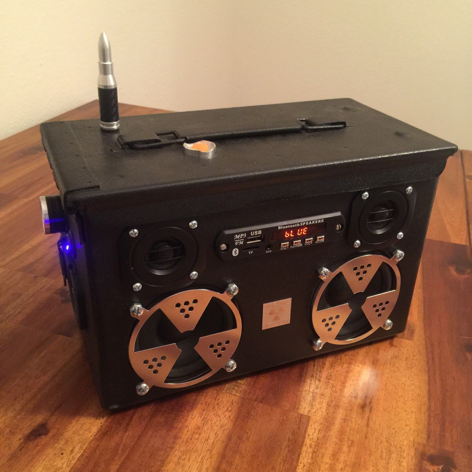 Ammo Can Rechargeable Stereo Boombox Radioactive by