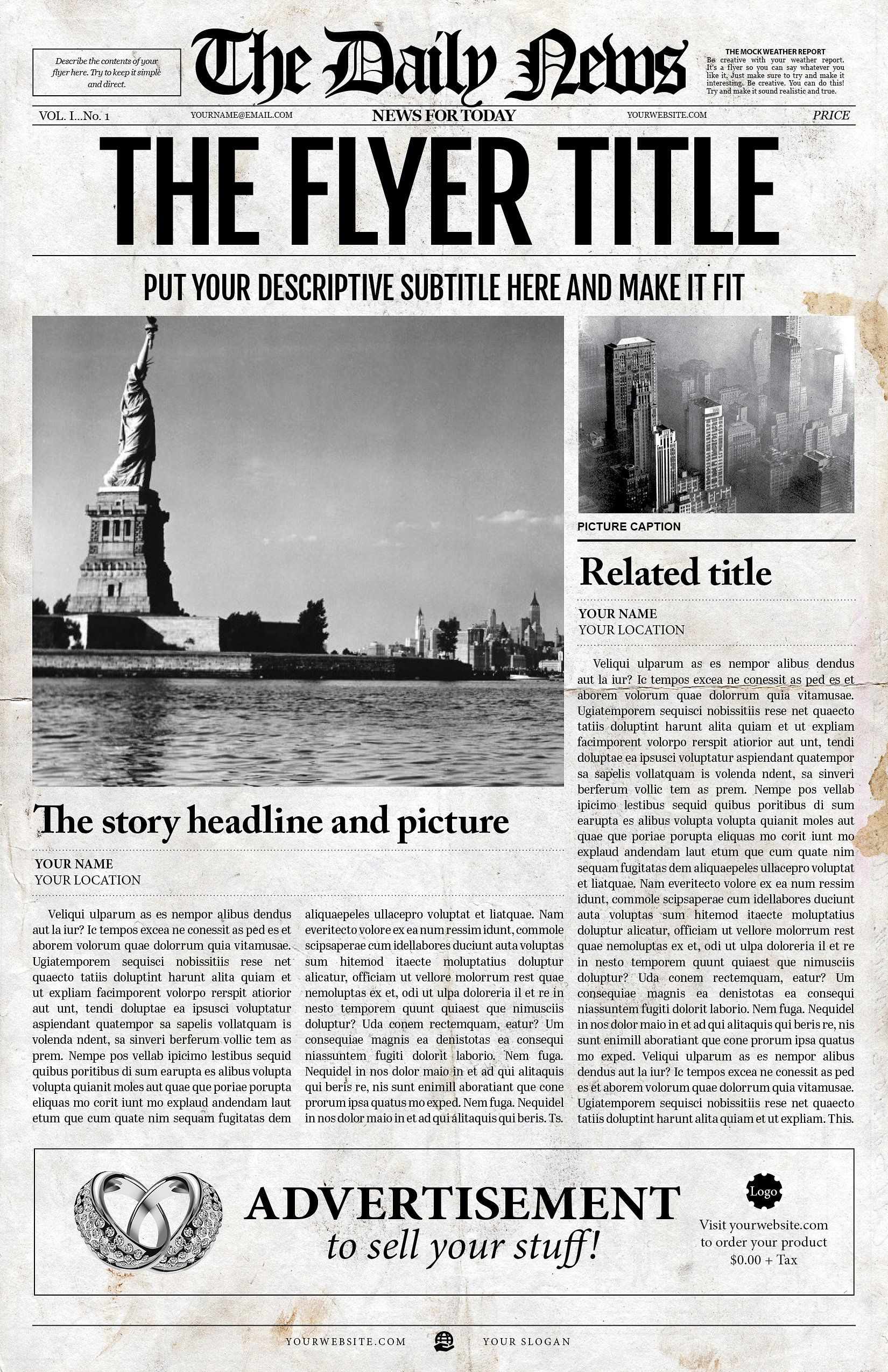2x1 Page Newspaper Template Adobe Indesign 8 5x11 11x17