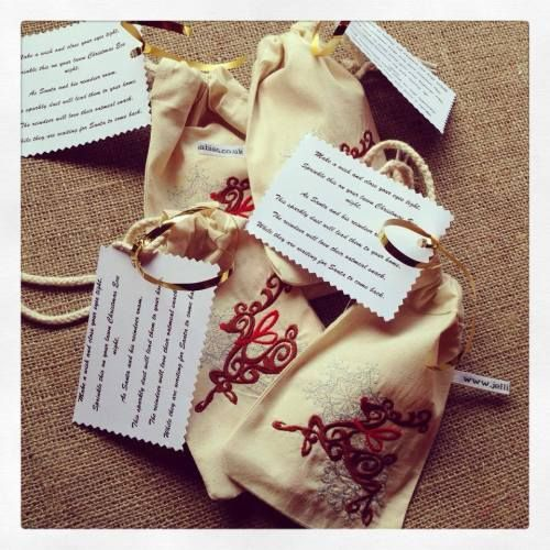 Embroidered Magic reindeer food bags