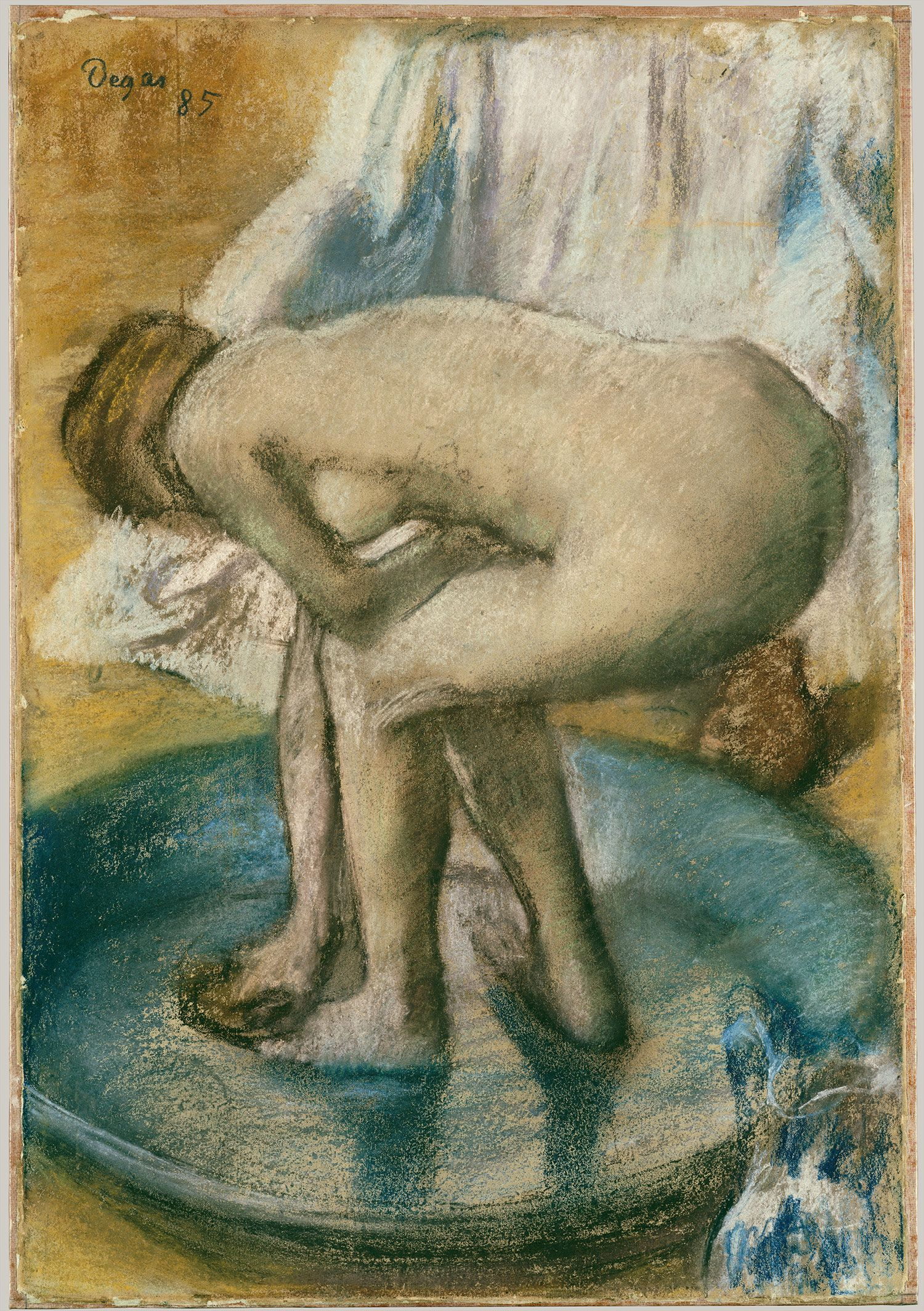 Edgar Degas, Woman Bathing in a Shallow Tub, charcoal and pastel ...