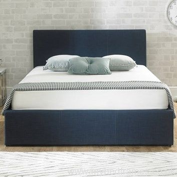 Stirling Ottoman Blue Upholstered Fabric Ottoman Bed Frame