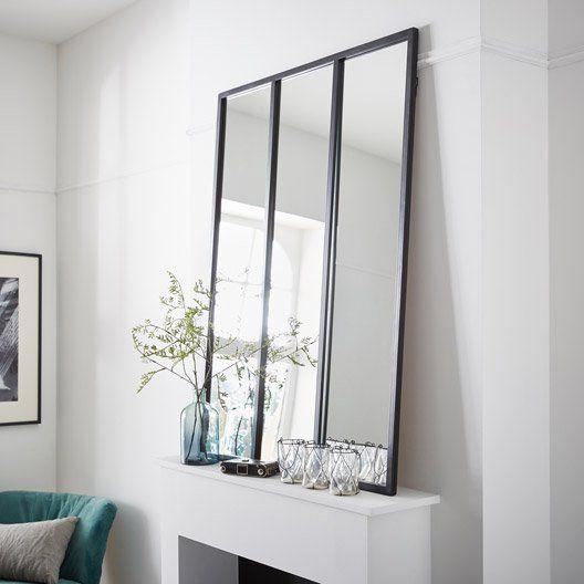 Pour Un Effet Verriere A Cote De La Fenetre Leroy Merlin Miroir Atelier Noir L 81 X H 109 Cm Miroir Atelier Miroir Rectangulaire Miroir Style Verriere