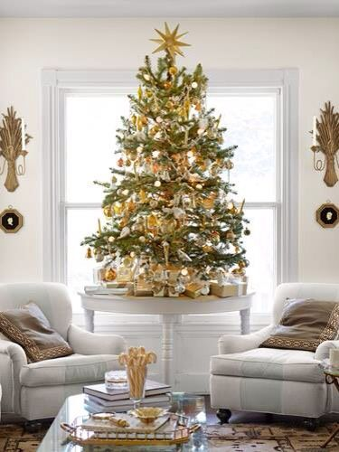 Christmas Tree decorated with gold ornaments