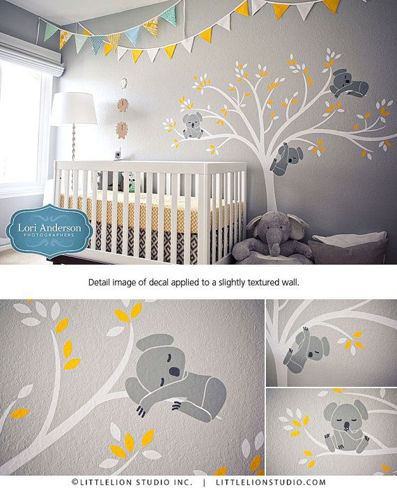 Koala tree wall decal modern baby nursery decor sleepy koalas hanging from a beautiful tree wall - Stickers koala chambre bebe ...