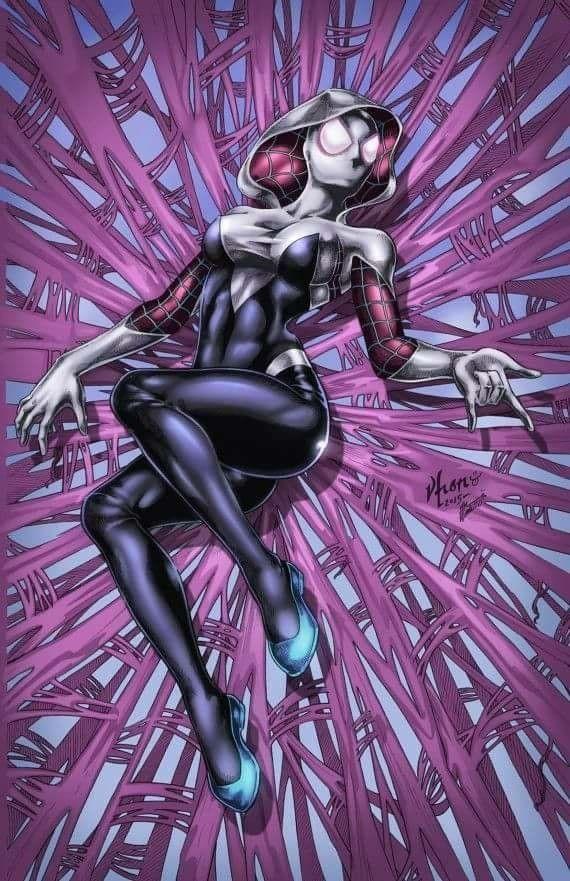 Spider Gwen, outros desenhos de personagens, com técnicas
