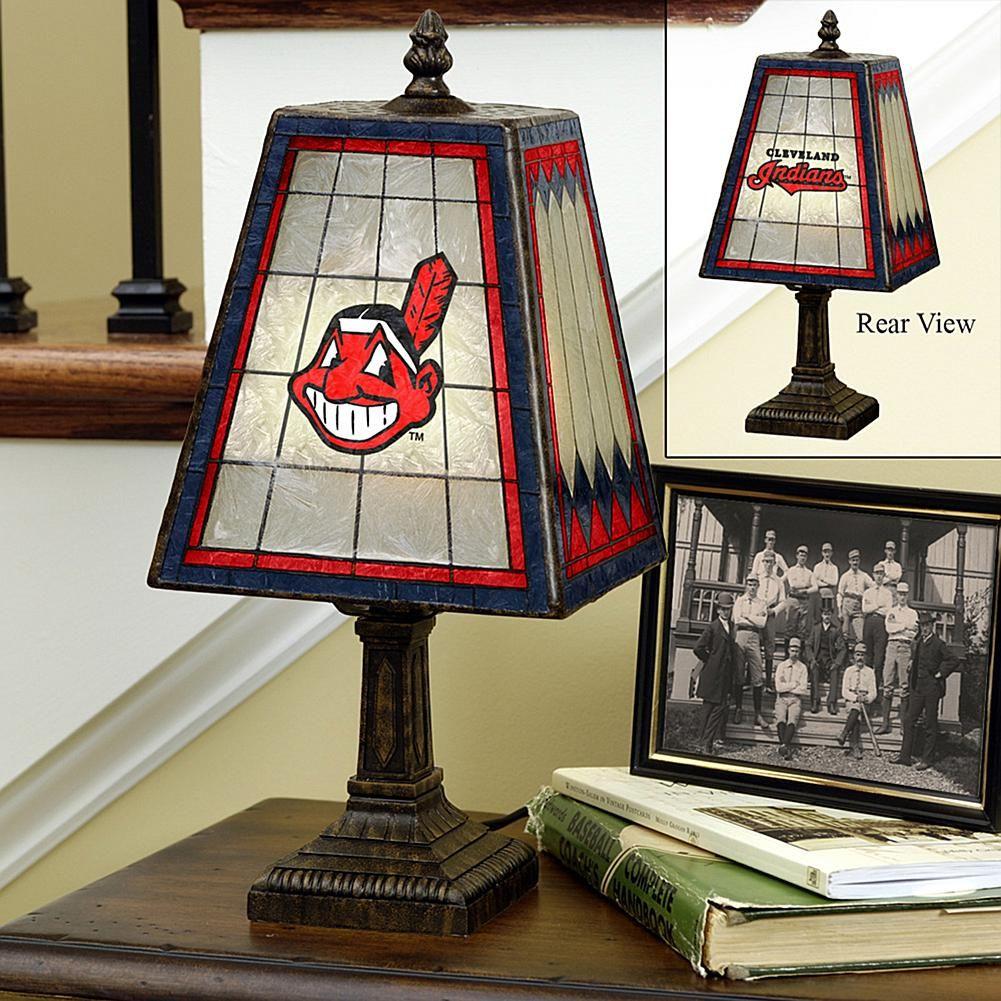 MEMORY Company Handpainted Art Glass Team Lamp Cleveland