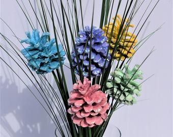 Pine Cone Flowers, ORIGINAL, Spring. Painted Pine Cones on 12-inch Wood Stems. One dozen. Mother's day, Valentine's day, gifts..
