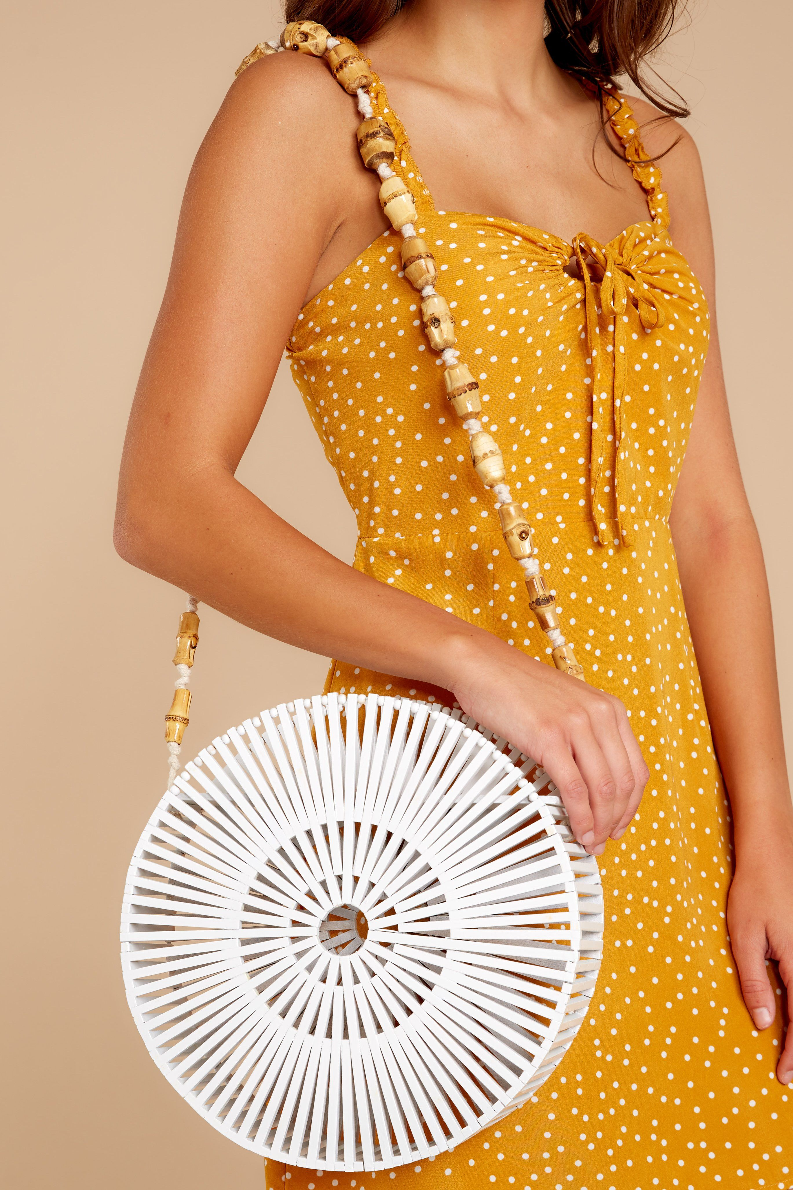db3c787e9e5b9 Stylish White Bamboo Purse - Circular Bamboo Bag - Handbag -  66.00 – Red  Dress Boutique