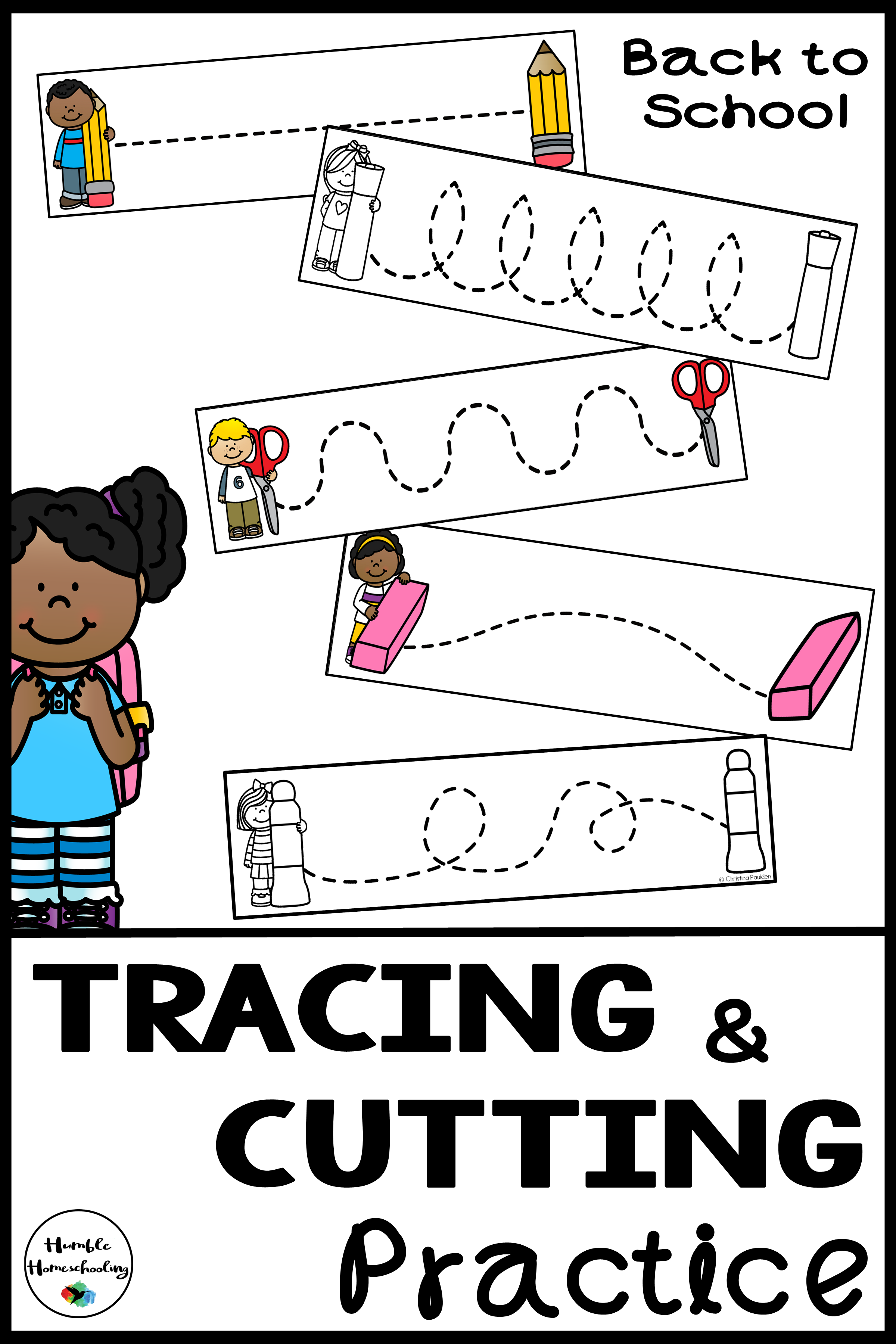 Tracing Skill Prewriting Practice Worksheets Bundle