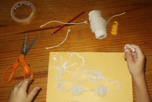 string and glue pictures.
