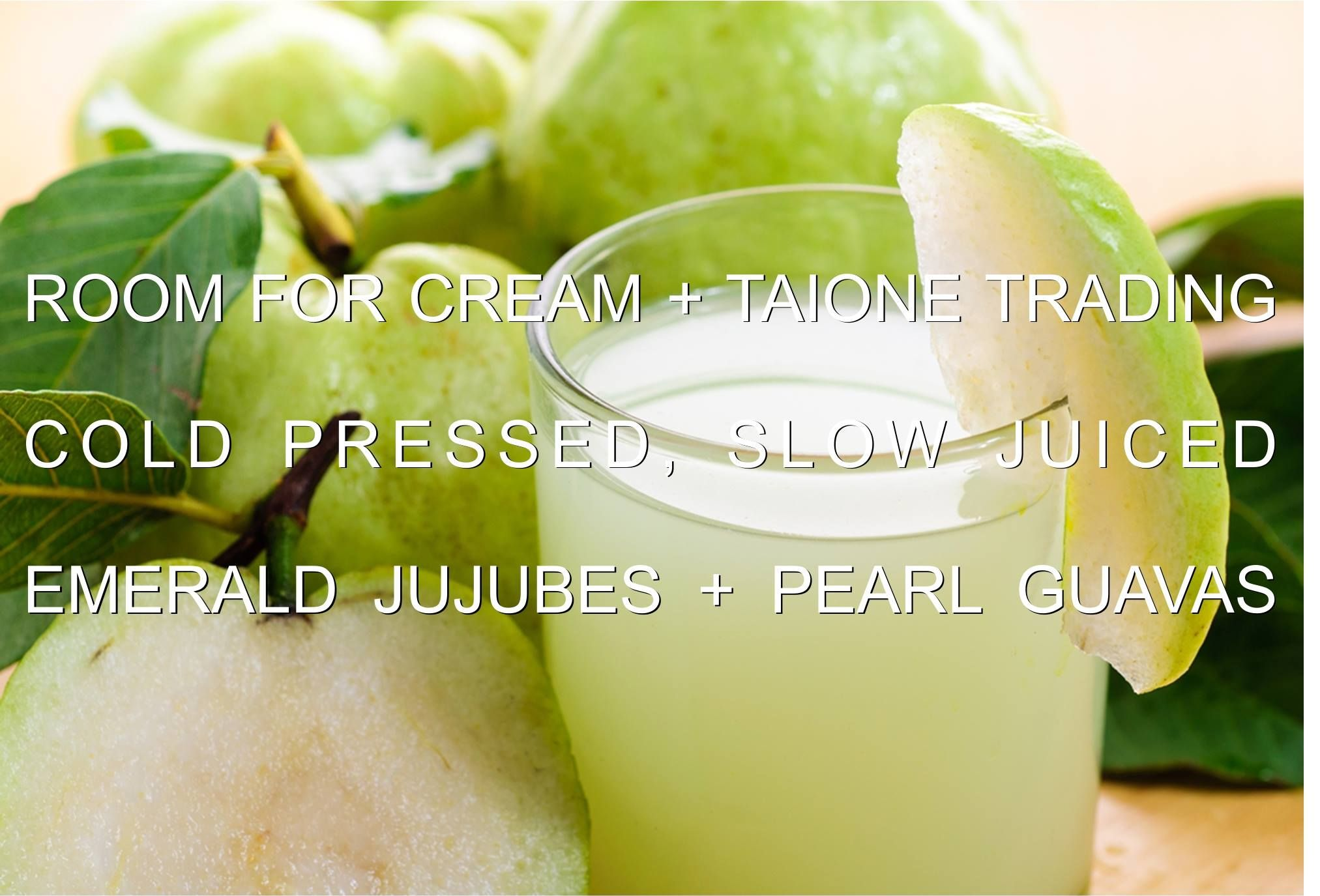 Today we are excited to announce that Room for Cream is proudly serving slow juiced fresh Emerald Jujubes and Pearl Guavas, as well as tea creations of Jujube Ginger Black Tea and Guava Peppermint Green Tea served either cold or hot! Thank you!