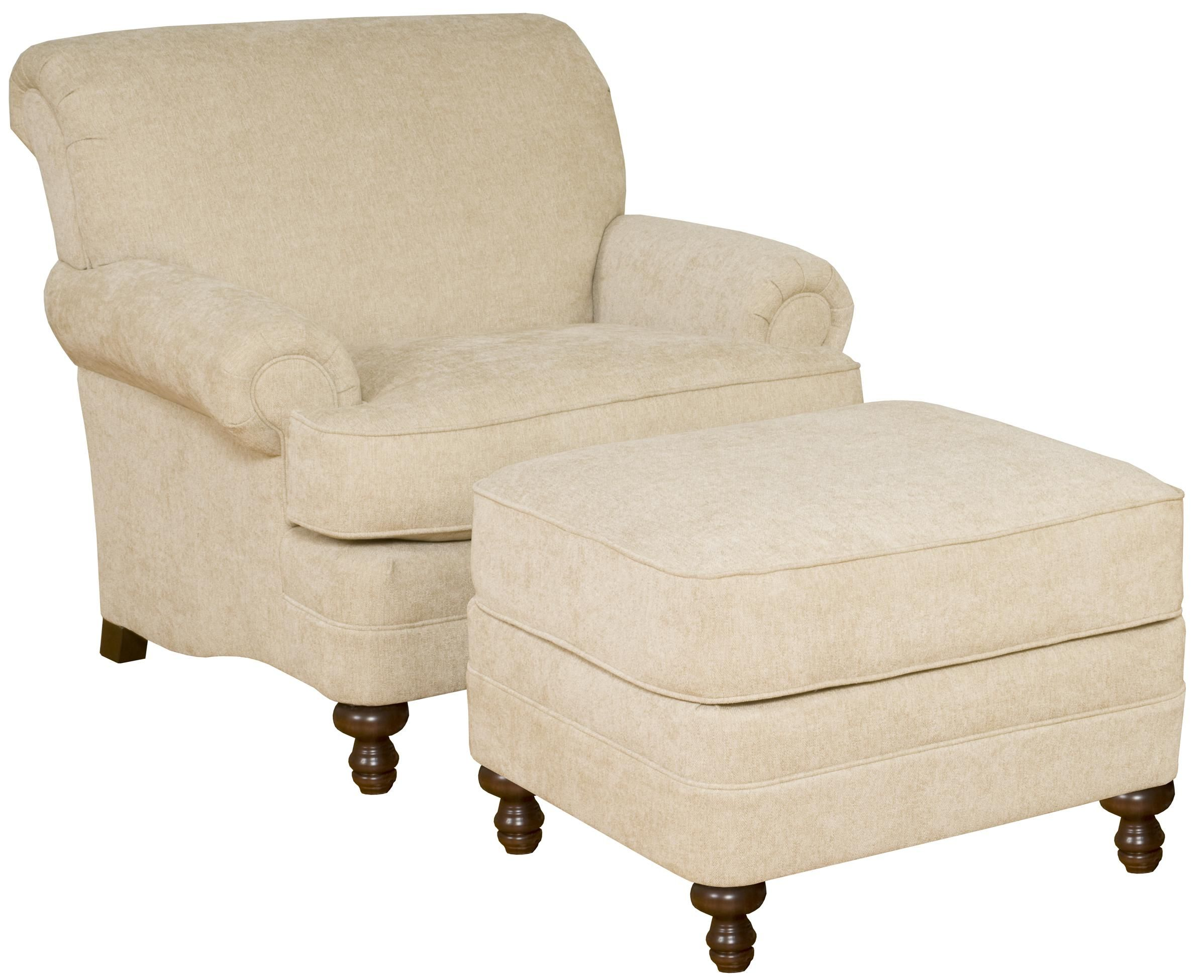 Amanda Upholstered Rolled Arm Chair and Ottoman