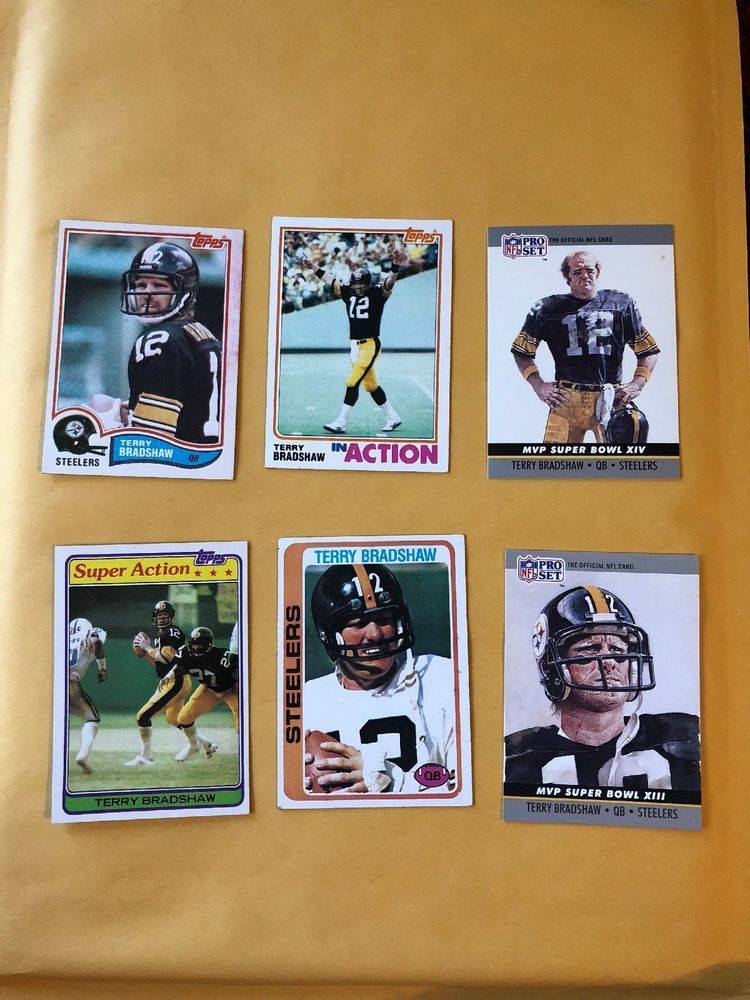 60ad17206 Terry Bradshaw Lot Of 6 Football Cards Pittsburgh Steelers Vintage 70 s 80 s
