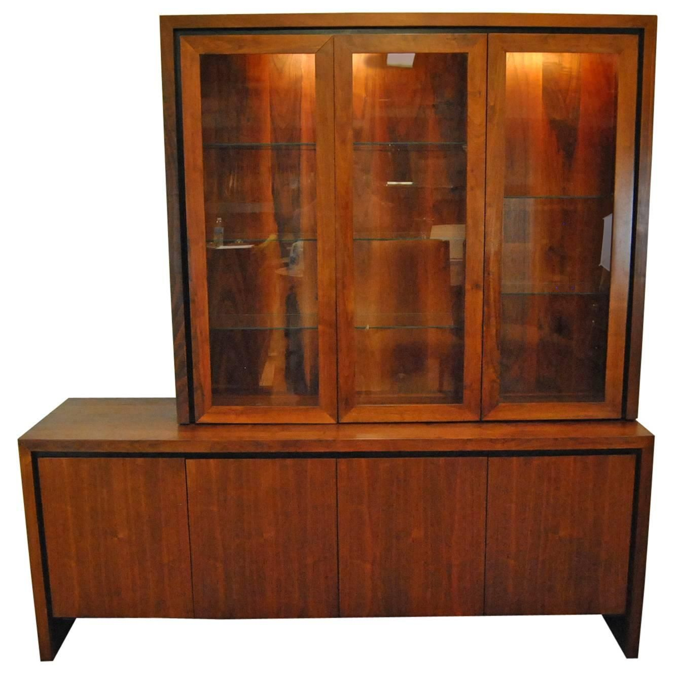 Midcentury Danish Modern Two Pc Teak Buffet China Display Cabinet Delectable Modern Dining Room Display Cabinets Design Inspiration