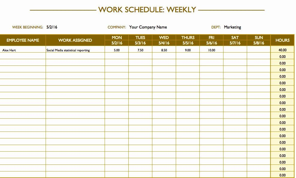 Work Day Schedule Template New Free Work Schedule Templates For