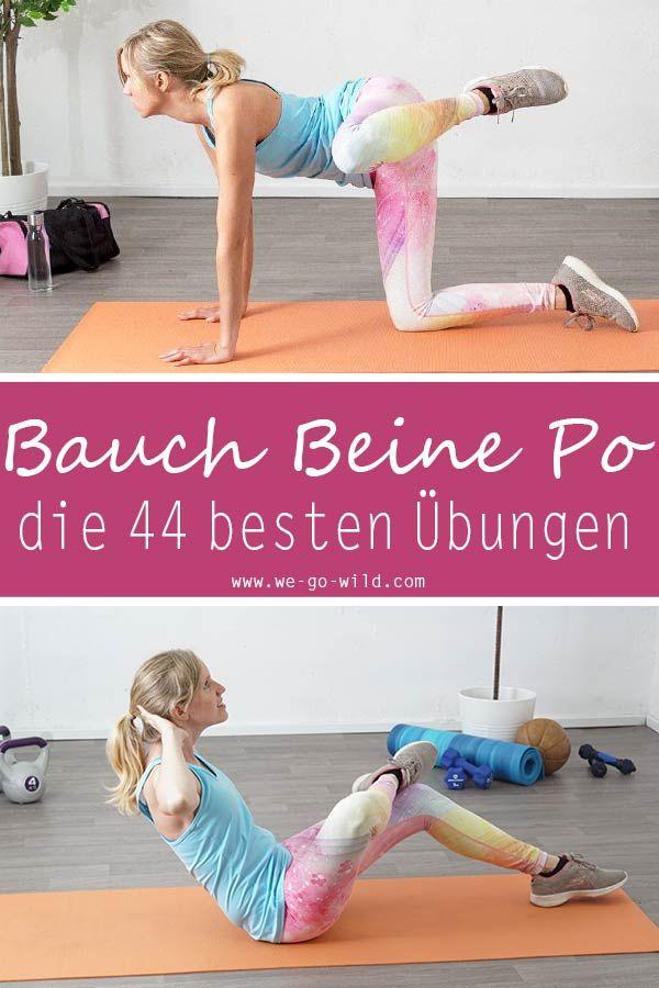 44 effektive Bauch Beine Po Übungen für zuhause fürs BBP Training #fitnesschallenges